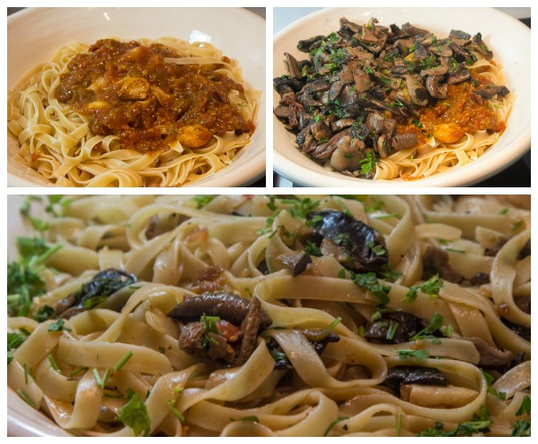 serving the tagliatelle with mushrooms - boscaiola
