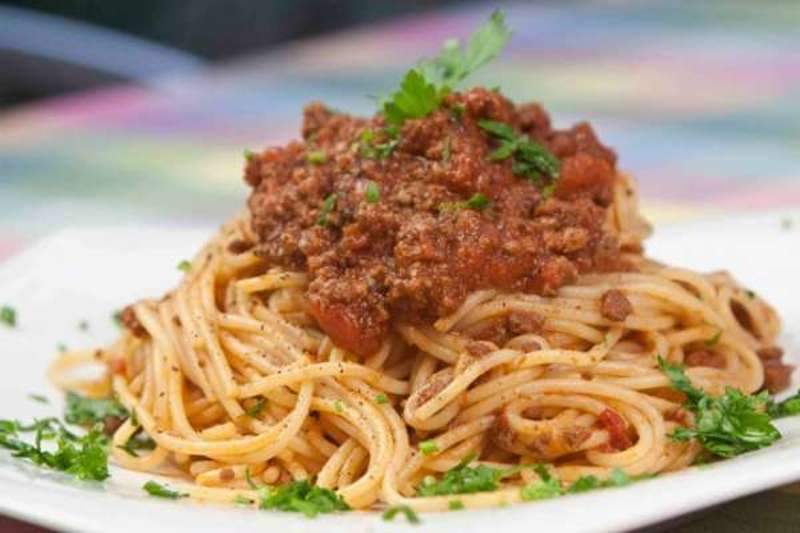 pasta with minced meat bolognese sauce