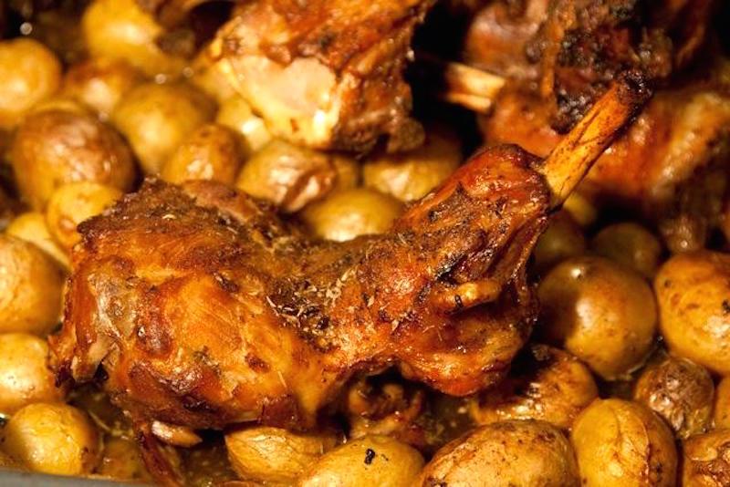 crispy roast lamb with potatoes