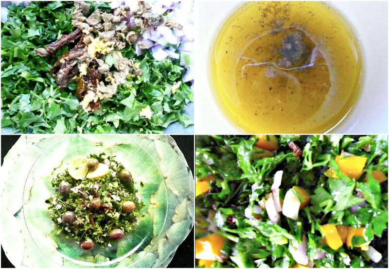 σαλάτα μαϊντανού με κρεμμυδάκι, πιπεριές, λιαστή ντομάτα και ελιές