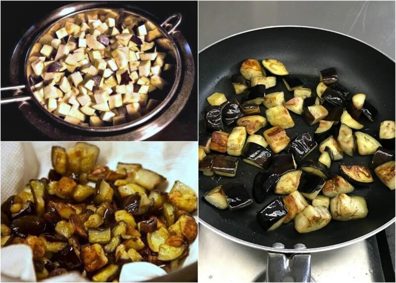 Τηγάνισμα μελιτζάνας για σάλτσα caponata Σικελίας