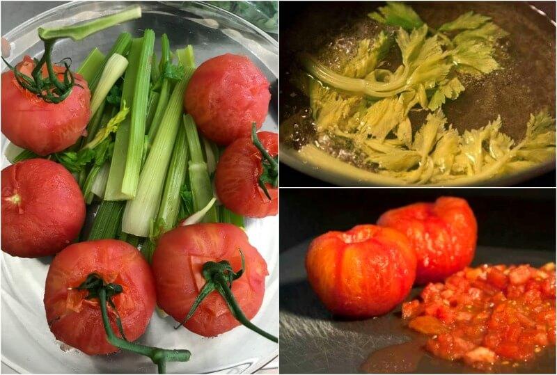 Υλικά για σιτσιλιάνικη καπονάτα: ντομάτες, σέλερι