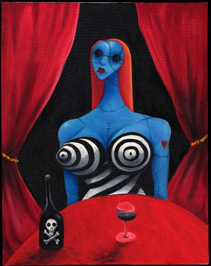 "Tim Barton, ""Blue girl with wine"""