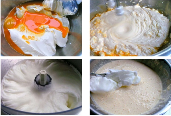 making the cream with mascarpone and eggs