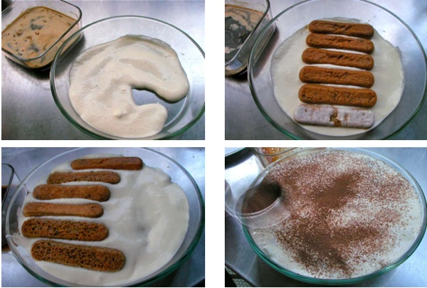 tiramisu, layaring of cream and ladyfingers
