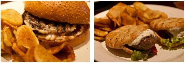 Kozi's: Burger Americano kai bifteki Lambo (right)