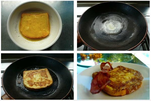ετοιμάζοντας γαλλικό τοστ (french toast) με bacon