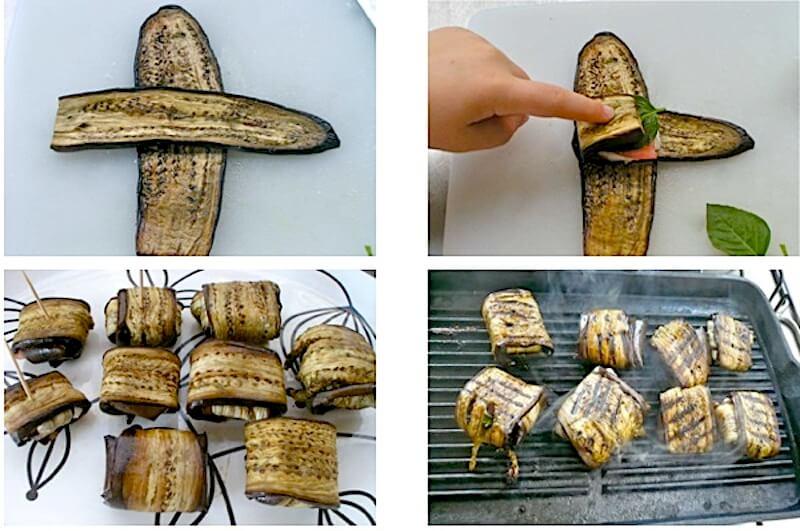 μελιτζάνες τυλιχτές με μοτσαρέλα και ντομάτα βήμα βήμα
