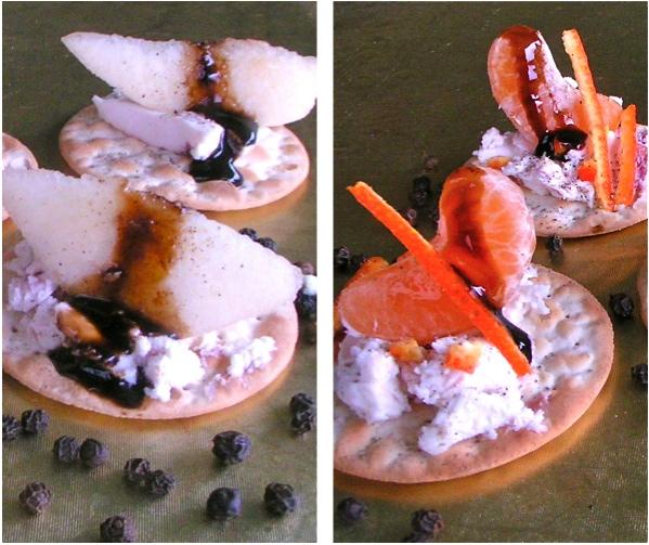 oρεκτικά: κατσικίσιο τυρί και φρούτα