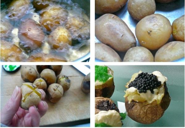 baby πατάτες με μασκαρπόνε και αβγά ψαριών