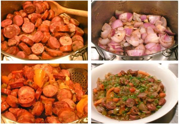 λουκάνικο με λαχανικά και ημίγλυκο σπουμάντε