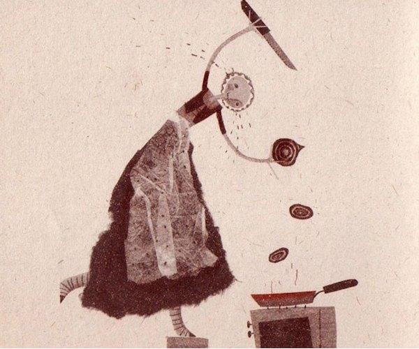 βενετσιάνικο συκώτι -εικονογράφιση από το βιβλίο 'Cento Sapori Italiani. Cento Illustrazioni Iraniane'