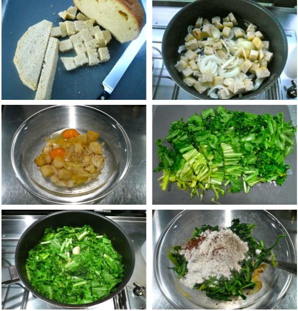 αρωματικά ταρτάκια με ψωμί και λαχανικά - προετοιμασία