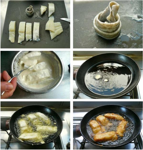 μπακαλιάρος ξαρμύρισμα, πέρασμα σε κουρκούτι και τηγάνισμα