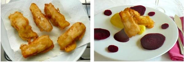 φιλέτα τηγανητού μπακαλιάρου και με σκορδαλιά και παντζάρια