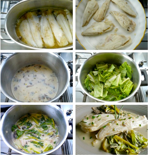 sole fillet with white wine sauce - making the sauce