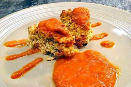 κρέας σουφλέ με σάλτσα φρέσκιας ντομάτας