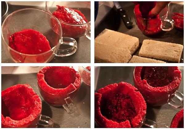 summer pudding - making