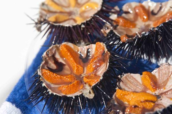 αχινοί ωμοί με λεμονάκι