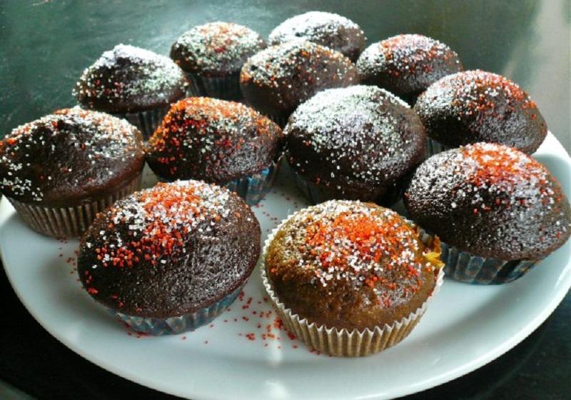 μάφιν με σοκολάτα - σοκολατένια μάφινς