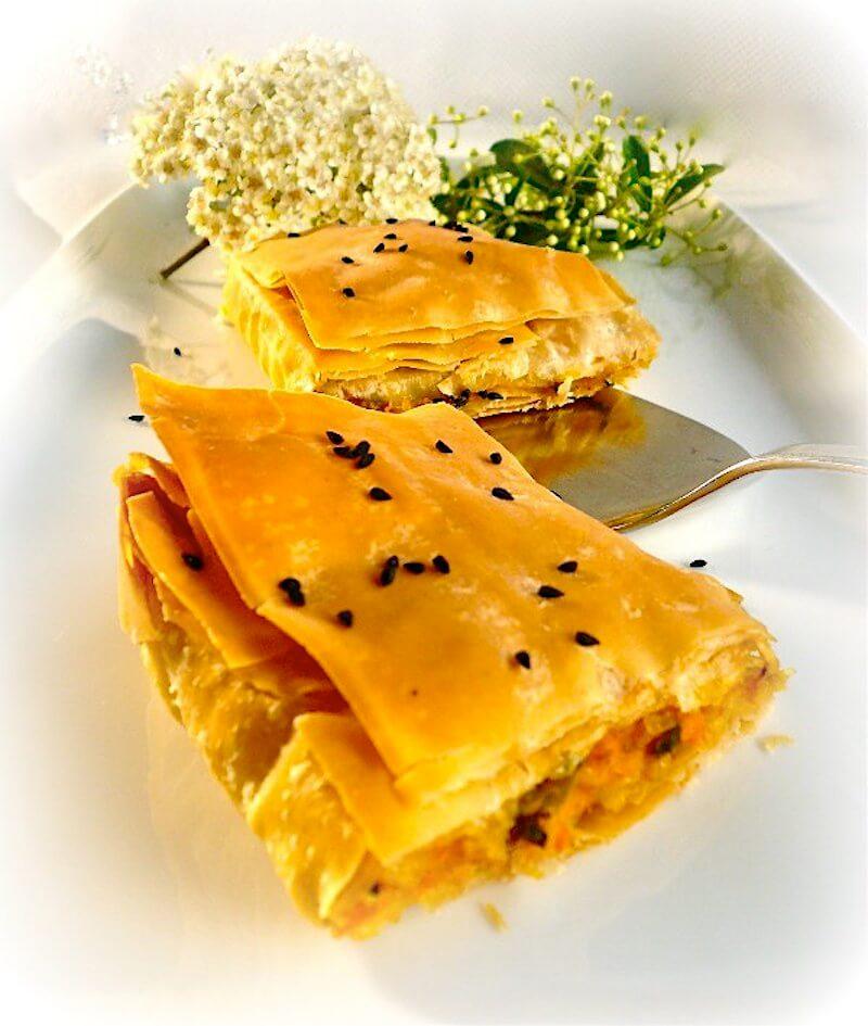 πίτα με κολοκύθα και μοσχοκάρυδο από τη Σάμο