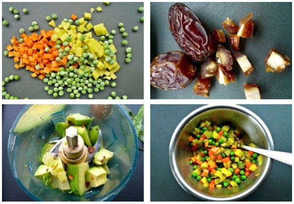 γαρίδες με λαχανικά, χουρμάδες και αβοκάντο - τα υλικά