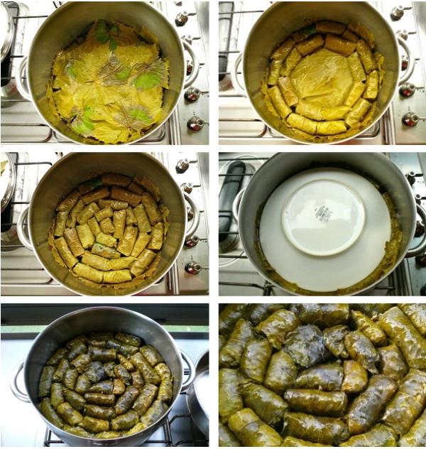 ντολμαδάκια γιαλαντζί - στρώσιμο κατσαρόλας και μαγείρεμα