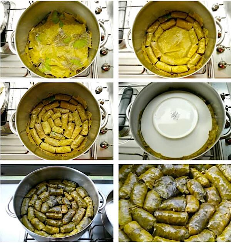 step-by-step preparation for the perfect small Greek vine leaves' rolls