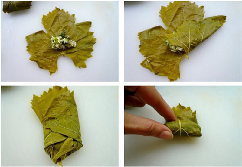 How to perfectly fold small Greek dolmades made with vine leaves