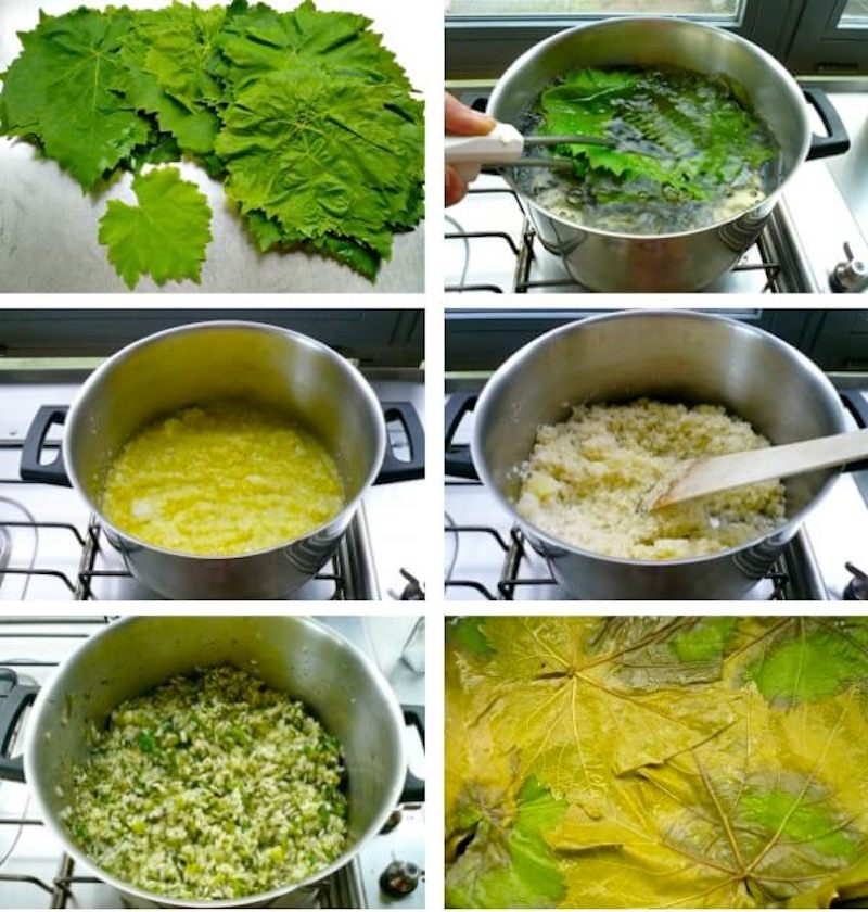 step-by-step preparation of small Greek vine leaves' rolls - how to make the best greek dolmades from vine leaves stuffed with rice