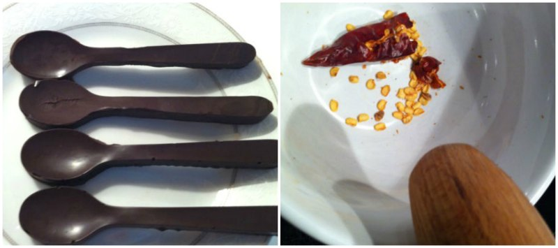 κουταλάκια σοκολάτας και τσίλι για σορμπέ με φράουλες