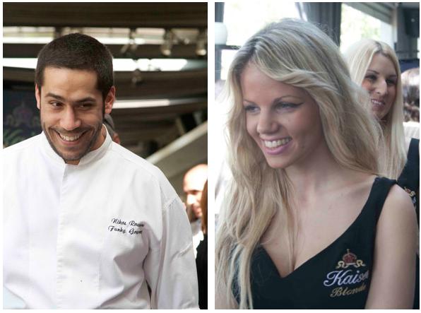 Νikos Roussos, chef of the funky gourmet restaurant and the Kaiser blonde girls
