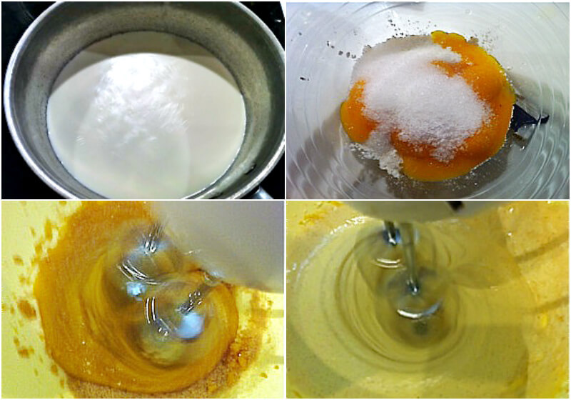 Crème brûlée: step by step preparing of the custard