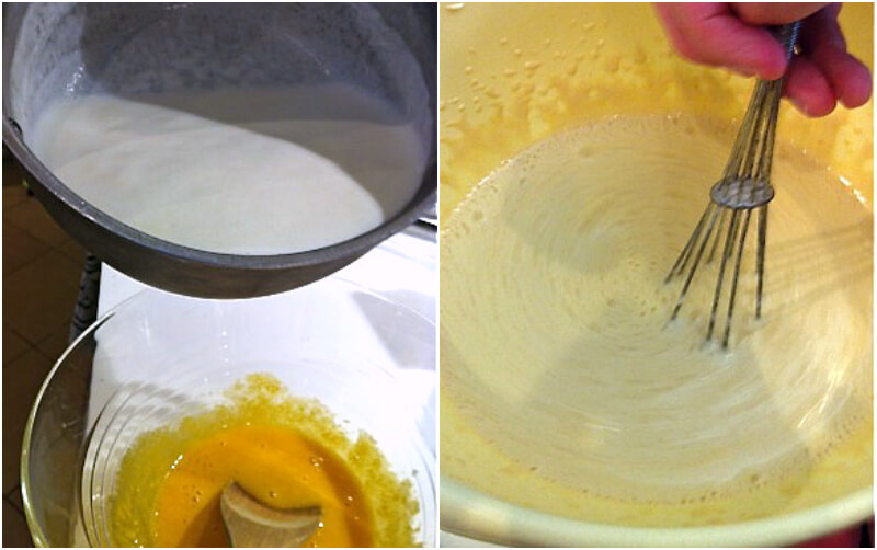 Pour the cream over the egg mixture and whisk whisk continuously