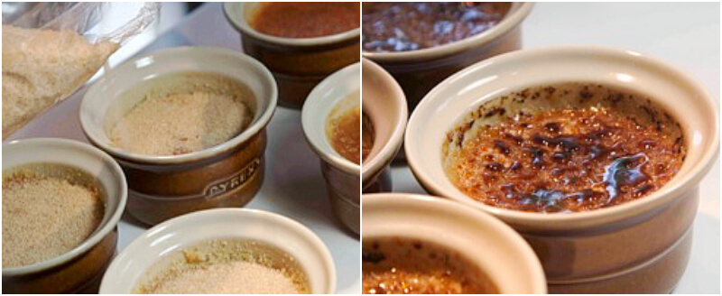 Crème brûlée step by step: caramelization and finished sweet