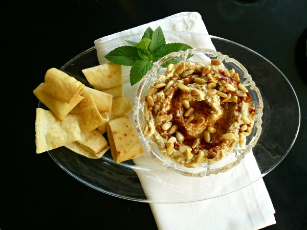 spicy hummus with tahini and pine nuts