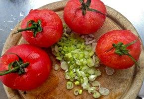γαλέτες κοτόπουλου -ντομάτες
