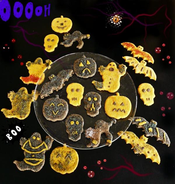 spooky μπισκοτάκια με μέλι και αστραφτερή ζάχαρη - halloween