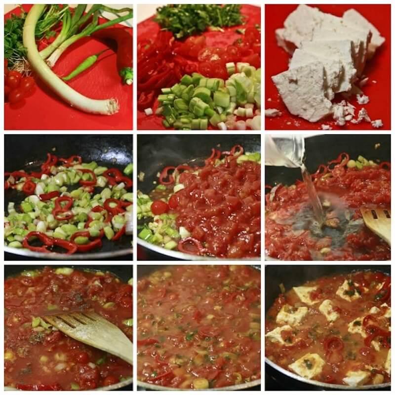 Γαρίδες σαγανάκι πικάντικες με πιπεριές και φέτα