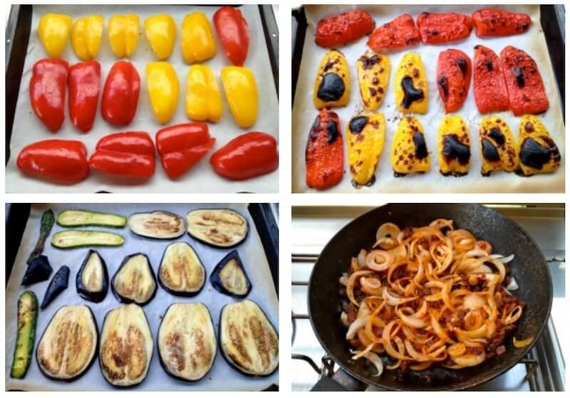 κάνοντας τα ψητά λαχανικά και τα κρεμμύδια