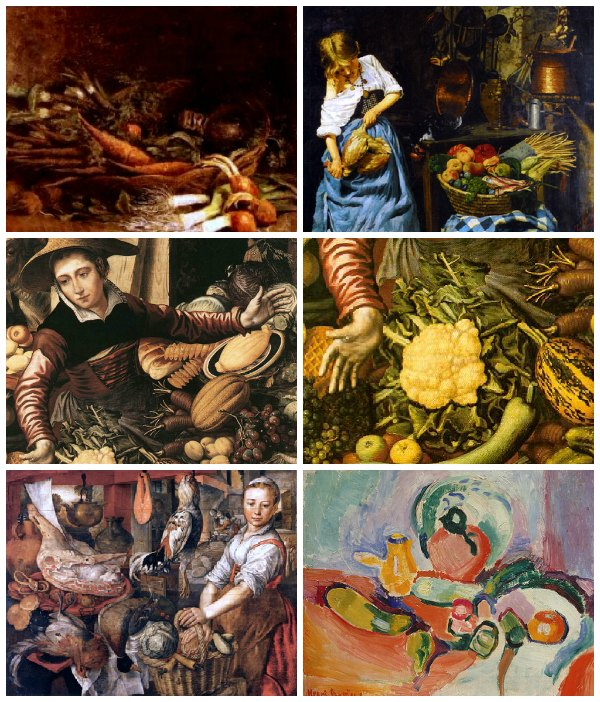 Still life with fruits and vegetables 2. Artworks with market and kichen scenes
