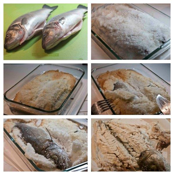 Preparing a Salt-baked fish (sea bass)