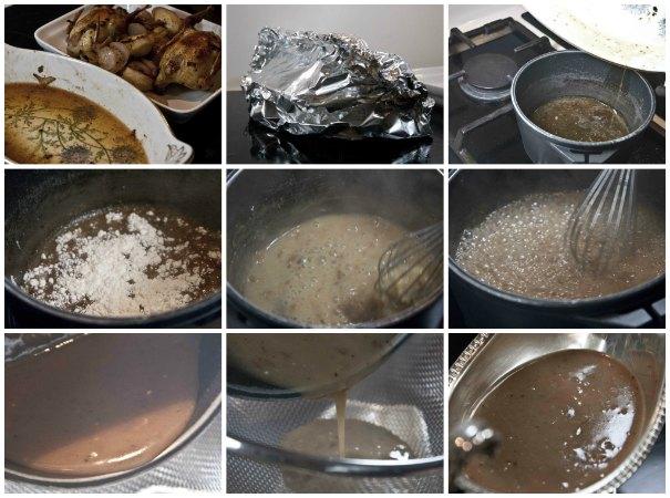 σάλτσα gravy για ψητές πέρδικες
