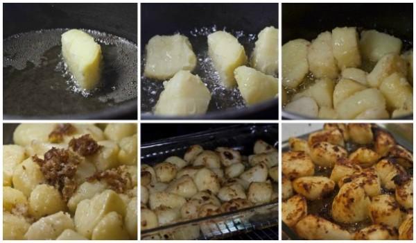 χήνα γεμιστή -πατάτες ψητές στο λίπος της