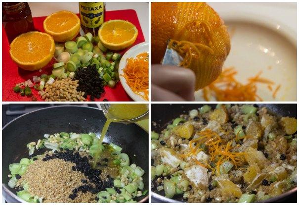 κοτόπουλο με πορτοκάλι και μέλι γεμιστό
