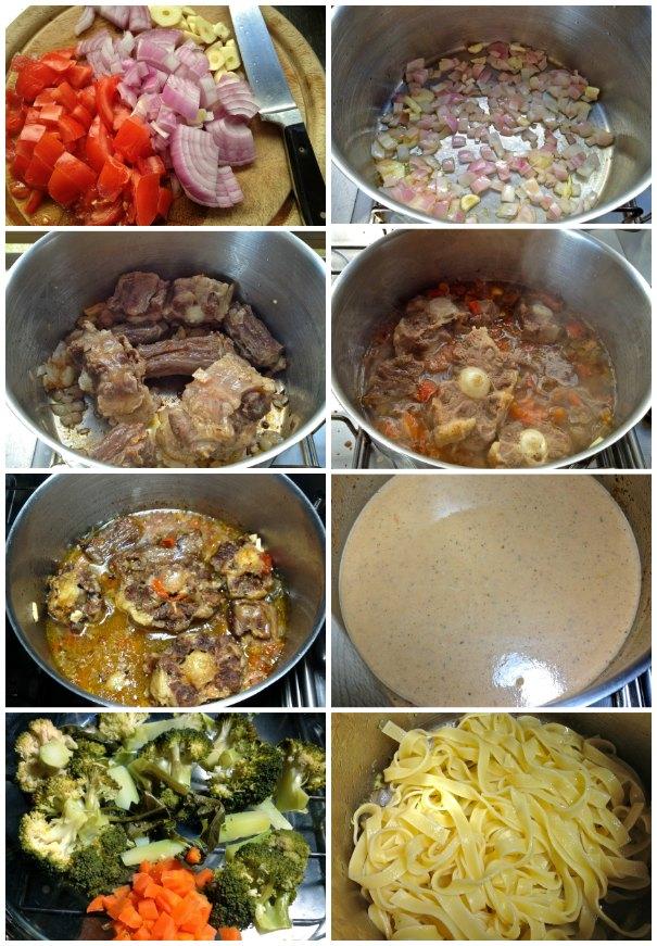 Μαγειρεύοντας ουρά μοσχαριού στην κατσαρόλα με φασκόμηλο, λαχανικά και ταλιατέλες
