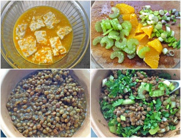 φακές σαλάτα με πορτοκάλι και φέτα