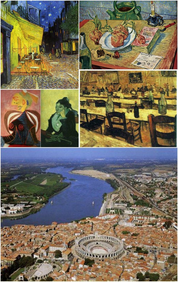 artworks of Van Gogh and Picasso showing Arles. Down, view of the town and the area