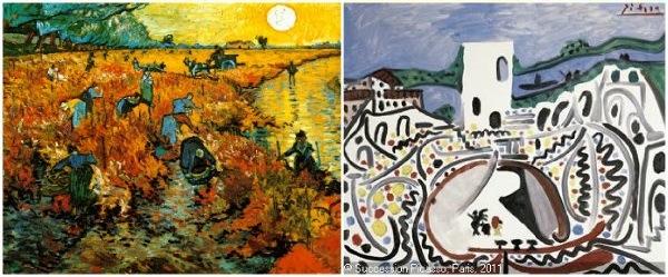 "Van Gogh, 'Red Vineyard at Arles"" (left) and Picasso 'Arles, les arenes devant le Rho'"
