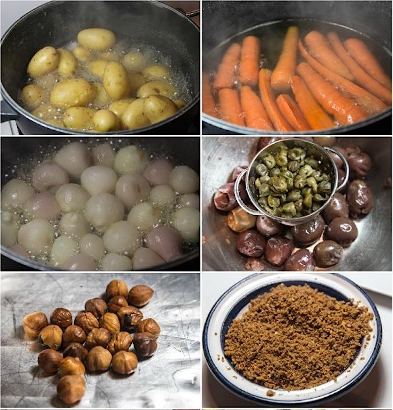 Τα λαχανικά και τα αρώματα στη σιγομαγειρεμένη ελιά μοσχαριού - μπρεζέ Αρλεζιέν